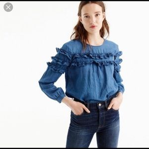 J crew tiered chambray ruffle top size 12
